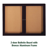 Ghent 36x60-inch Enclosed Cork Bulletin Board - Bronze Aluminum Frame [PB23660K]