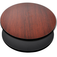 "Advantage 24"" Round Restaurant Table Top - Black / Mahogany Reversible [CT24RND-BMBLK]"