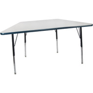 Advantage 30 in. x 60 in. Trapezoidal Adjustable Activity Table - Grey/Navy [AT3060TRAP-GN]