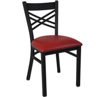 BFM Seating Akrin Black Metal Cross Back Restaurant Chair [2130C-SBV]