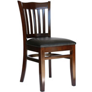 BFM Seating Princeton Walnut Wood School Back Restaurant Chair [WC7218WAV]