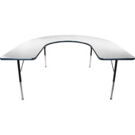 Advantage 60 in. x 66 in. Horseshoe Adjustable Activity Table - Grey/Navy [AT6066HRSH-GN]
