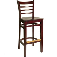 BFM Seating Burlington Mahogany Ladder Back Restaurant Bar Stool [WB101MHMHW]