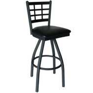 BFM Seating Marietta Metal Window Pane Restaurant Swivel Bar Stools [2163S-SBV]