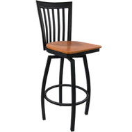 Advantage Vertical Slat Back Metal Swivel Bar Stool - Cherry Wood Seat [SBVB-BFCW]