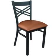 Advantage Black Metal Cross Back Chair - Mocha Padded [RCXB-BFMV]
