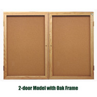 Ghent 48x60-inch Enclosed Cork Bulletin Board - Oak Frame [PW24860K]