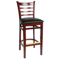 BFM Seating Burlington Mahogany Wood Ladder Back Restaurant Bar Stool [WB101MHV]