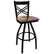 BFM Seating Akrin Black Metal Cross Back Restaurant Swivel Bar Stools [2130S-SBW]