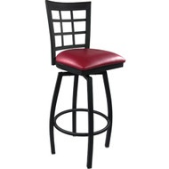 Advantage Window Pane Back Metal Swivel Bar Stool - Burgundy Padded [SBWPB-BFRV]