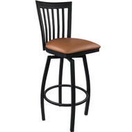 Advantage Vertical Slat Back Metal Swivel Bar Stool - Mocha Padded [SBVB-BFMV]