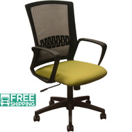 Black Mesh Office Chairs KB-8929-GRN | Green Seat | Desk Chair