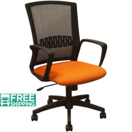 Black Mesh Office Chairs KB-8929-ORANGE | Orange Seat | Desk Chair