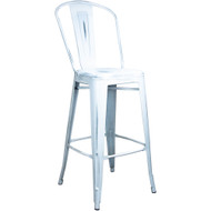 Advantage Distressed White Tolix Bar Stool [TC-BAR-Clear-Coat]