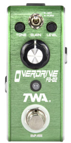 TWA Fly Boys FB-02 Overdrive pedal with C-BAT/R 9v battery clip adapter cable