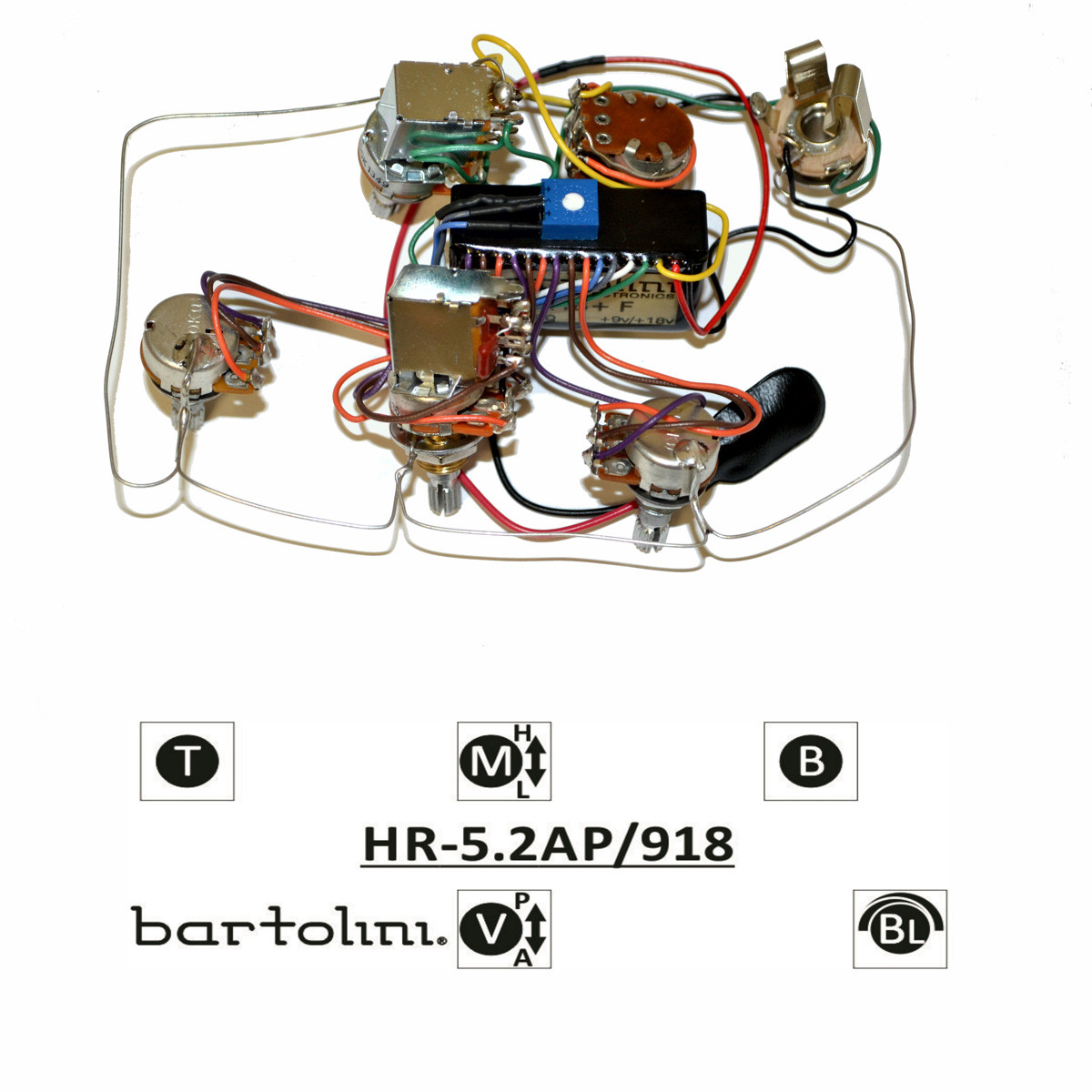 Bartolini HR-5.2AP Pre-Wired 3 Band EQ Active/Passive Vol, blend ...