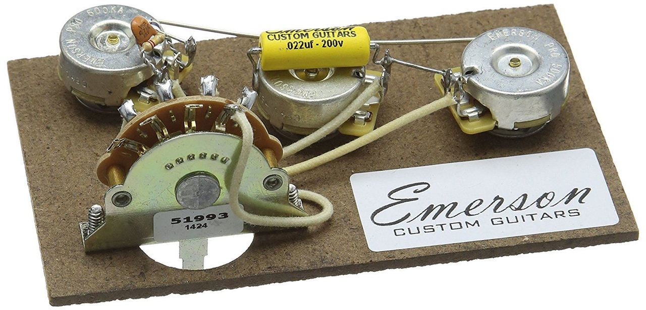 Emerson Custom Strat 5 Way Prewired Kit 500k Pots Macdaddy Music Switch Knobs Wiring Harness For Stratocaster