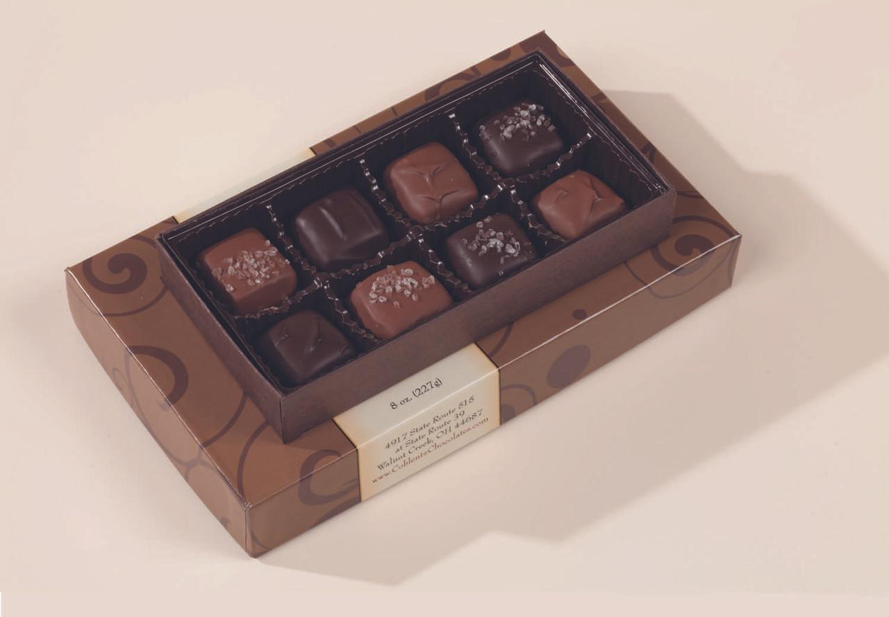 Milk Chocolate and Dark Chocolate Regular and Sea Salt Caramels