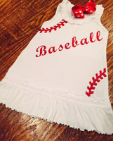 Baseball Seams Toddler Dress