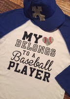 My Heart Belongs to A Ballplayer Mom/Girlfriend Baseball Tee