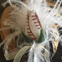 Lifetime Baseball Rose Boutonniere in White and Champagne