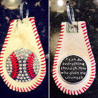 Philippians 4:13 Baseball Key Chain with Bling