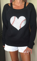 Baseball Heart Off Shoulder Fleece