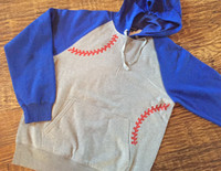 Baseball Seams Hooded Raglan Unisex Fleece