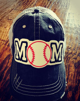 Baseball Mom Tattered Baseball Cap