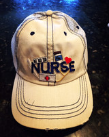 Mesh Backed Distressed Mega Cap with Sewn Nurse Motif