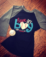 Love My Boy Baseball Tee