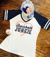 Baseball Junkie Retro Tee in Navy