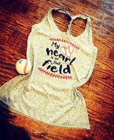 """My Heart Is On That Field"" New Twist Back Tank"