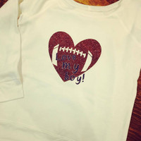 1 Sample Love My Boy Football Off Shoulder Fleece size XL