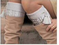 Knitted Boot Cuffs with Tassel