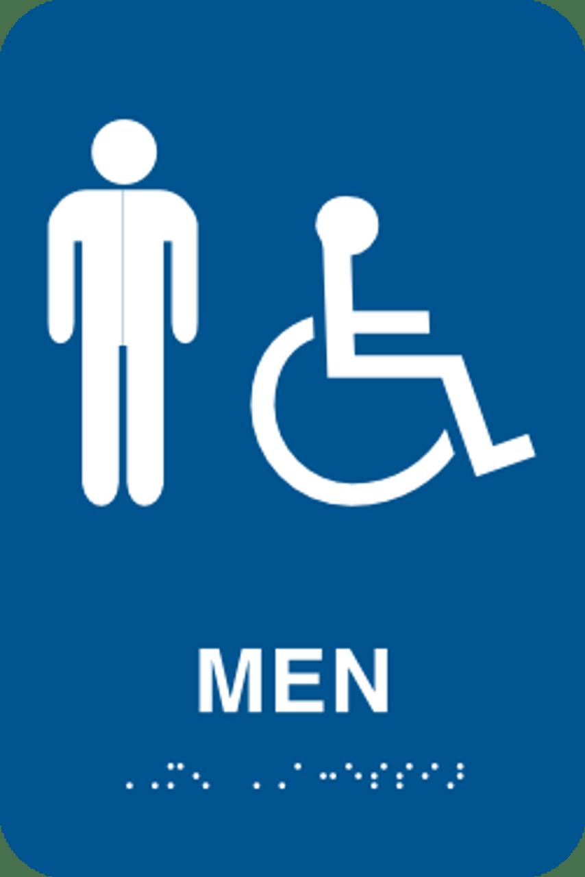 mens handicapped bathroom sign ada braille color required - Handicap Bathroom Signs