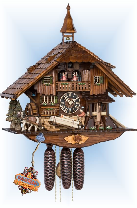 Hones   86230t   24''H   Saw Mill   Chalet style   cuckoo clock   full view