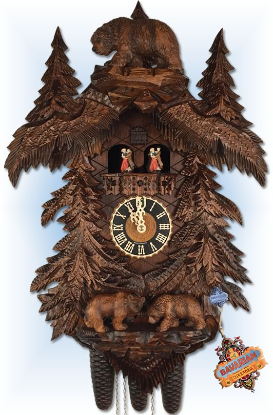 hones bears in forest cuckoo clock 25 bavarian clockworks