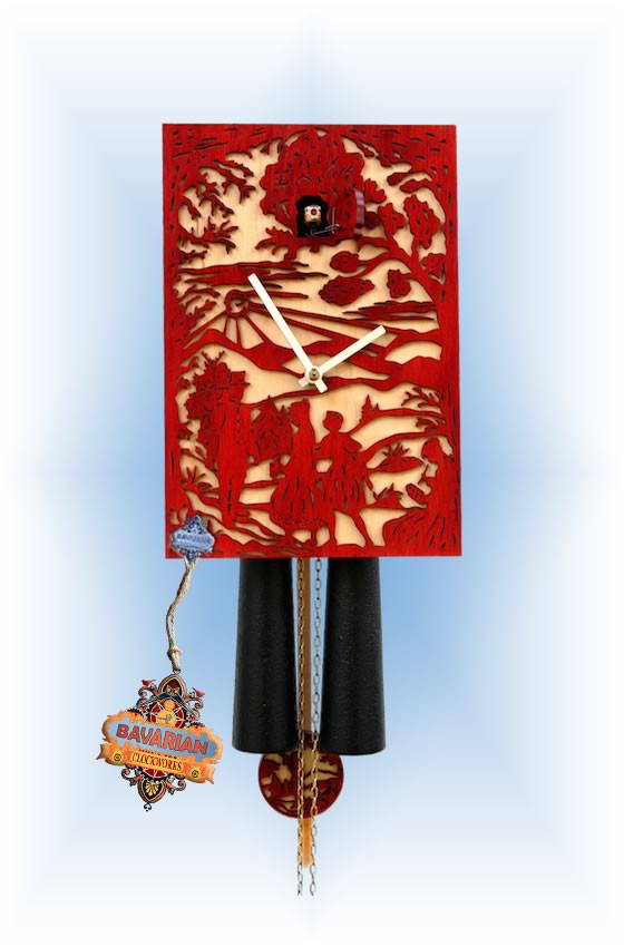 Rombach & Haas | sn34-3 | 11''H | Red Silhoutte 2 | Modern | cuckoo clock | full view