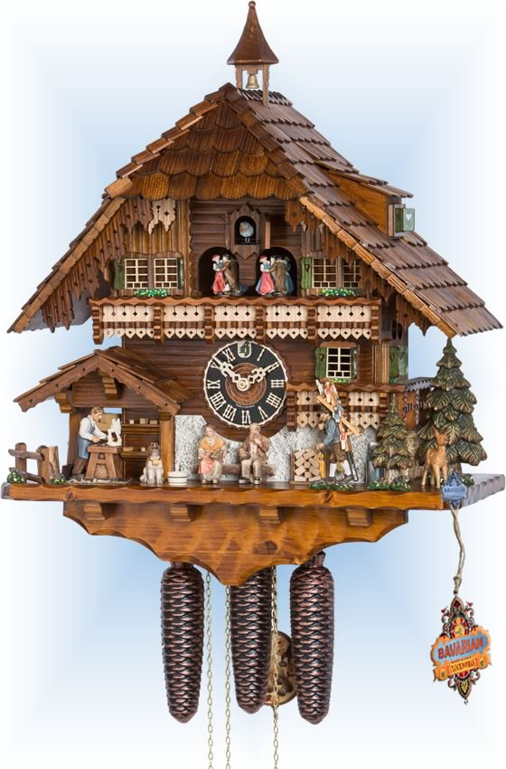 Hones   86732t   22''H   Wood Carver   Chalet style   cuckoo clock   full view