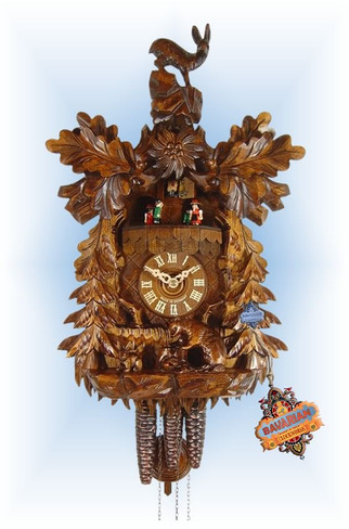 August Schwer | 4.6510.01.c | 17''H | Rabbit & Racoon | Traditional | cuckoo clock | full view