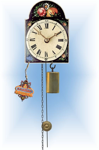 Rombach & Haas | 185b | 5''H | Black Floral | Shield style | jockele clock | full view