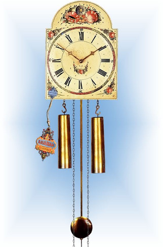 Rombach & Haas | 7291r | 10''H | Aged Floral | Shield style | painted clock | full view