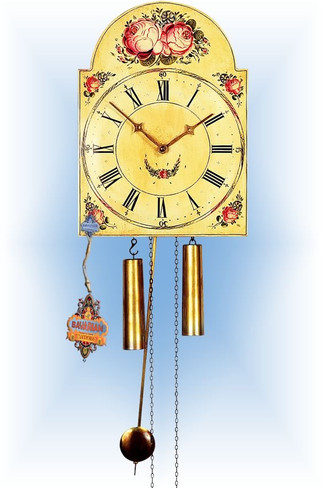 Rombach & Haas | 7374 | 15''H | Two Flower | Shield style | painted clock | full view