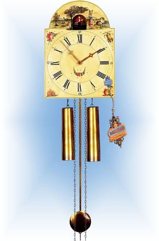 Rombach & Haas | 7377 | 14''H | Grain Farmer | Shield style | painted clock | full view
