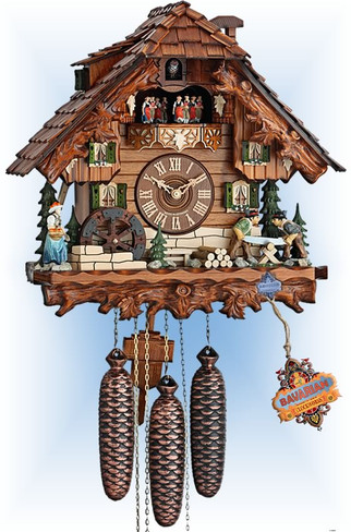 Hekas | 3734-8 | 15''H | Forest Mill | Chalet style | cuckoo clock | full view