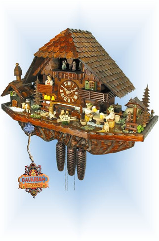 August Schwer | 5.8500.01.p | 17''H | Hohenhof Farm | Chalet style | cuckoo clock