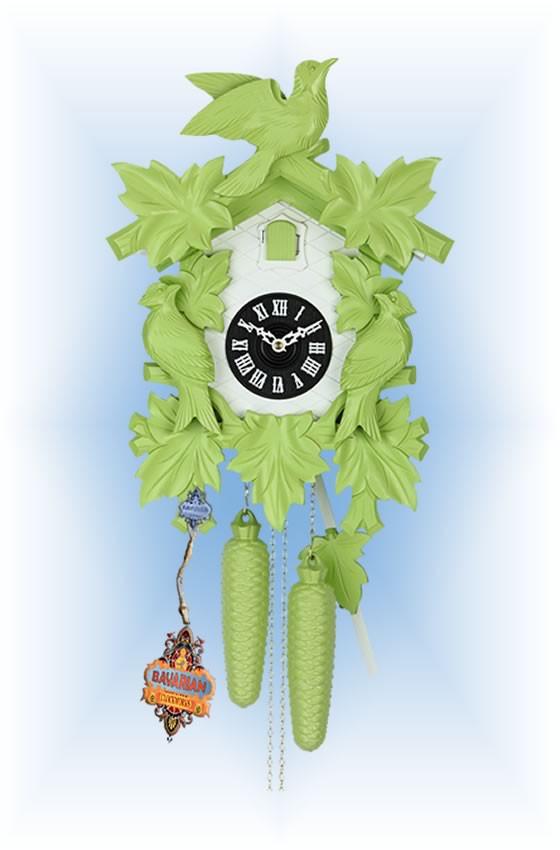 Hekas | 1606G | 8''H | Green Mod | Modern | cuckoo clock | full view