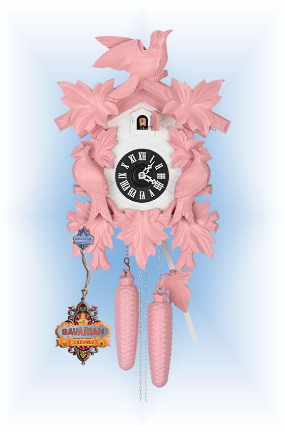 Hekas   1606P   8''H   Pink Mod   Modern   cuckoo clock   full view