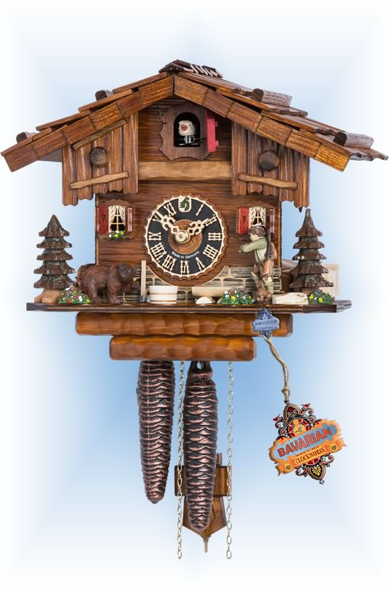Hones | 151 | 8''H | Forest Hunter | Chalet style | cuckoo clock | full view